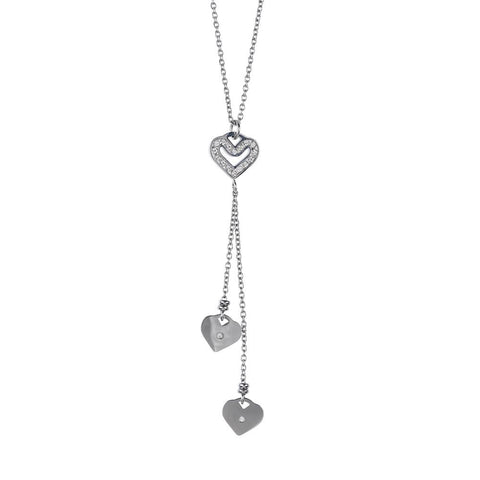 Necklace in steel with a pendant in the tuft of hearts