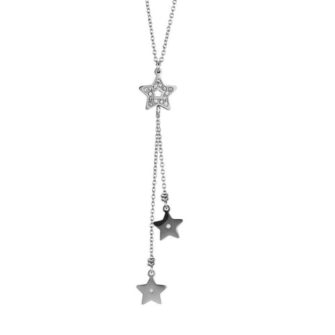 Necklace in steel with a pendant in the tuft of stars