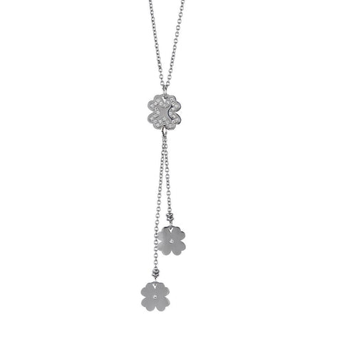 Necklace in steel with a pendant in the tuft of four-leafed clover