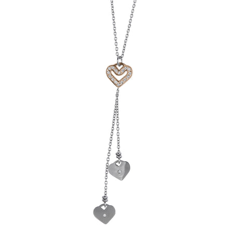 Necklace in pink steel pendant with a sprig of hearts