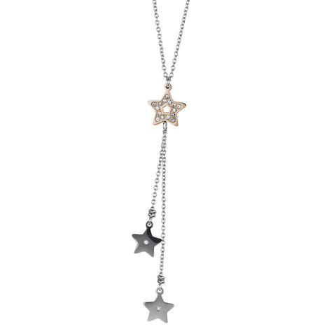 Necklace in pink steel pendant with a sprig of stars