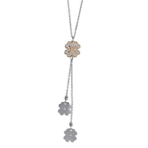 Necklace in pink steel pendant with a sprig of four-leafed clover