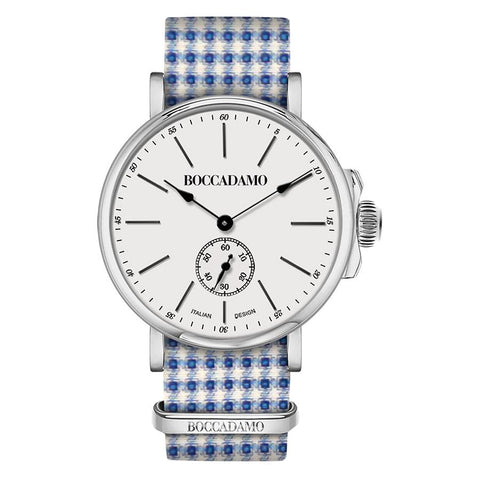 Related product : Clock with sartorial strap pied de poule from the tones of blue and white