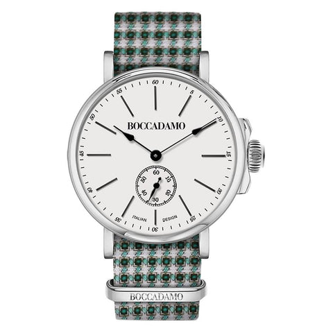 Related product : Clock with sartorial strap pied de poule from the tones of green and white