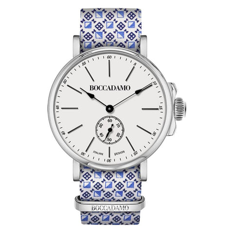 Related product : Clock with sartorial strap reason optical blue and white