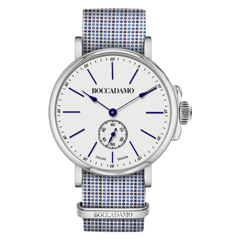Related product : Clock with strap microquadri tailoring and blue and white