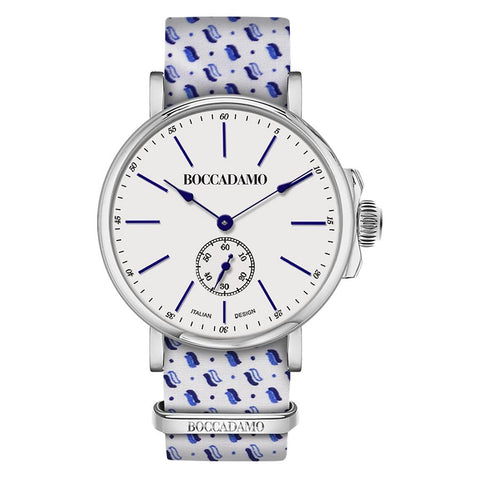 Related product : Clock with sartorial strap micro fantasy Blue on White Background