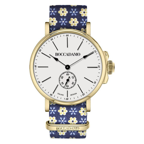 Related product : Clock with sartorial strap from the floral theme yellow on blue background and golden buckle
