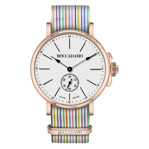Related product : Clock with sartorial strap to horizontal lines multicolor and buckle pink