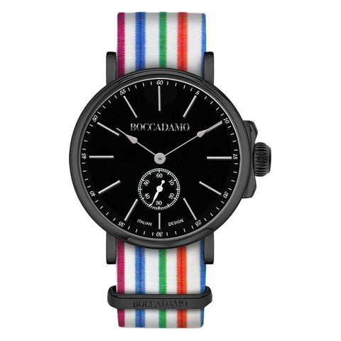 Related product : Clock with sartorial strap to horizontal lines multicolor and black buckle