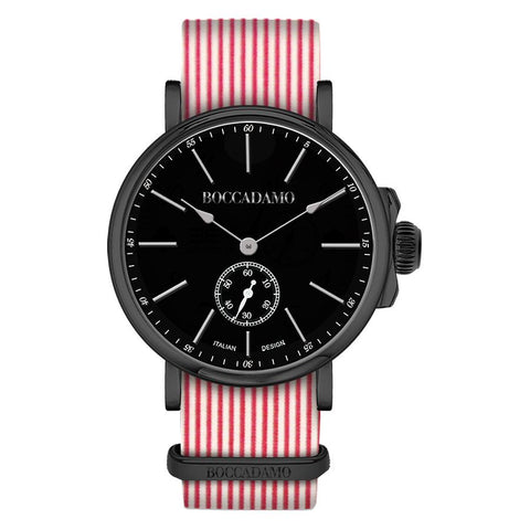 Related product : Clock with sartorial strap to horizontal lines red and black buckle