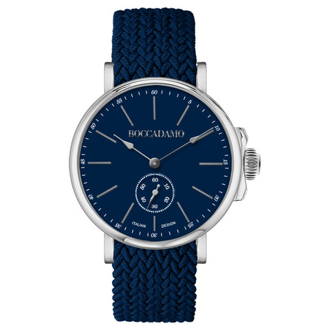 Clock with blue dial and strap in nylon Perlon navy blue