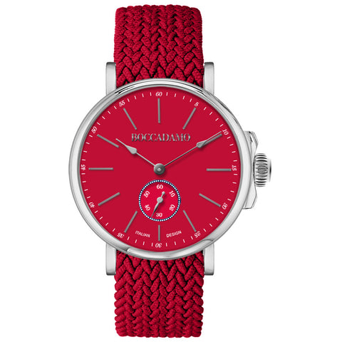 Clock with red dial and strap in nylon Perlon Red
