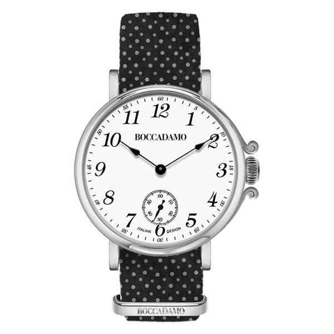 Ladies watch with white dial and Lanyard Nylon polka dots