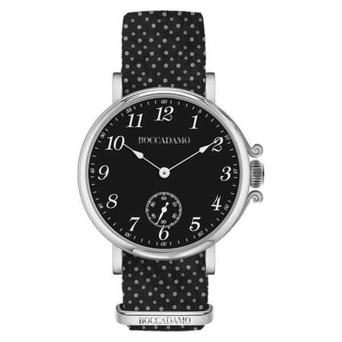 Ladies watch with black dial and Lanyard Nylon polka dots
