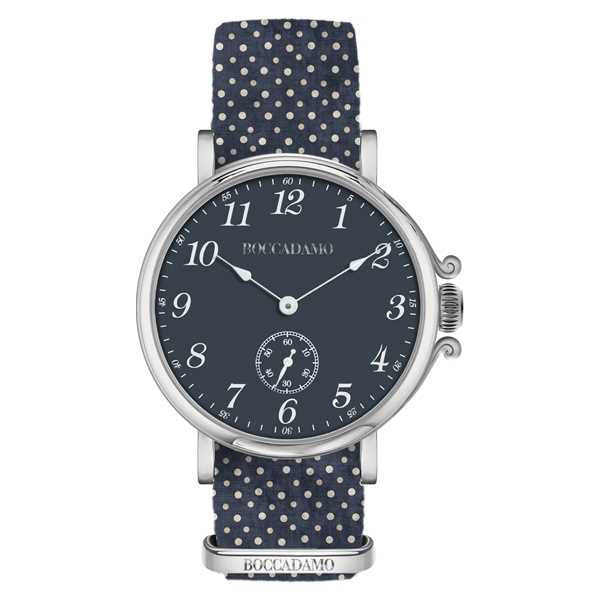 Ladies watch with blue dial and Lanyard Nylon polka dots