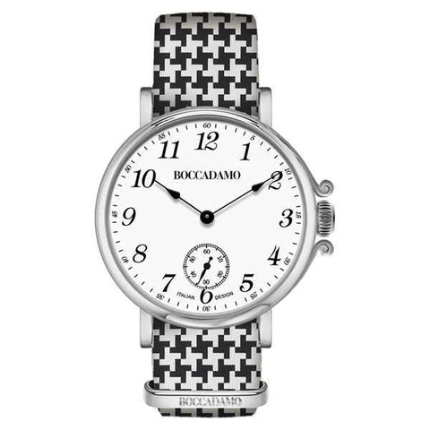 Ladies watch with white dial and Lanyard Nylon pied de poule