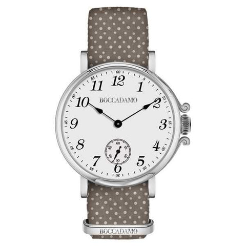 Ladies watch with white dial and strap brown nylon and polka dots