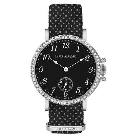 Ladies watch with black dial, box in Swarovski and Lanyard Nylon