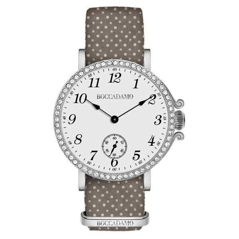 Ladies watch with white dial, cash silver in Swarovski and Lanyard Nylon Brown