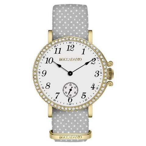 Ladies watch with white dial, golden cash in Swarovski and Lanyard Nylon