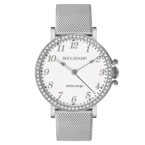 Watch lady with mesh strap Milan silver and ring of Swarovski
