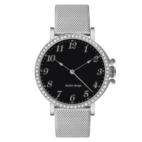 Watch lady with mesh strap Milan silver, black dial and ring of Swarovski