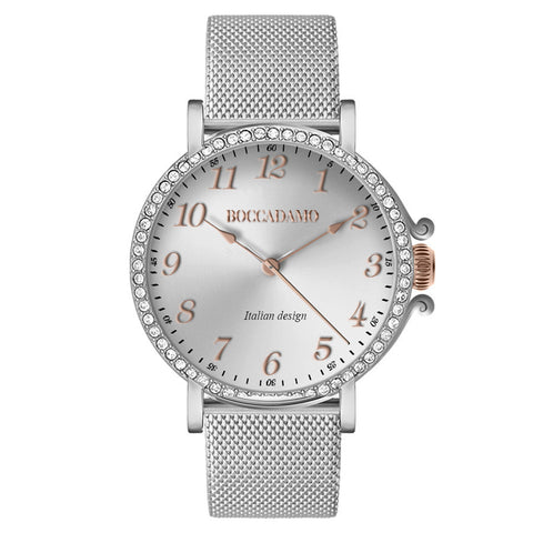 Watch lady with mesh strap Milan silver, silver dial and ring of Swarovski