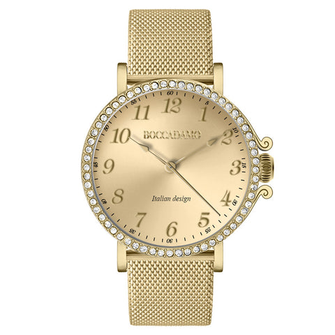 Watch lady with mesh strap Milan gold, gold dial and ring of Swarovski