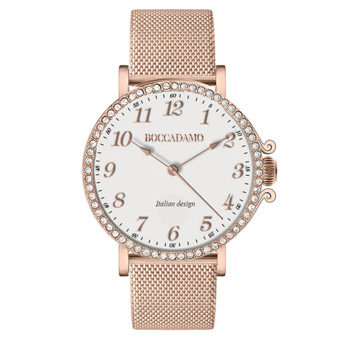 Watch lady with mesh strap Milan rose gold, white dial and ring of Swarovski