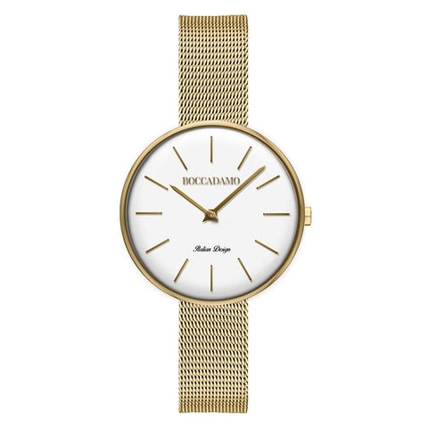 Clock mesh golden mesh with white dial