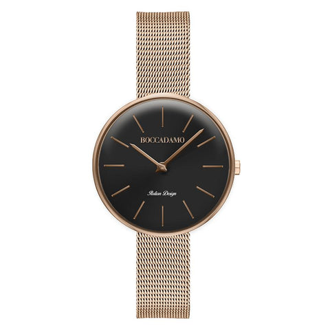 Clock knitted mesh with black dial