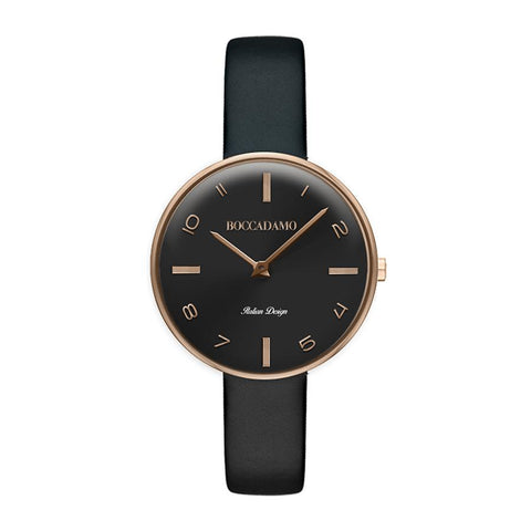 Clock with Leather Strap Black, black dial and indexes rosati