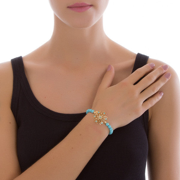 Elasticated Bracelet in pasta of turquoise