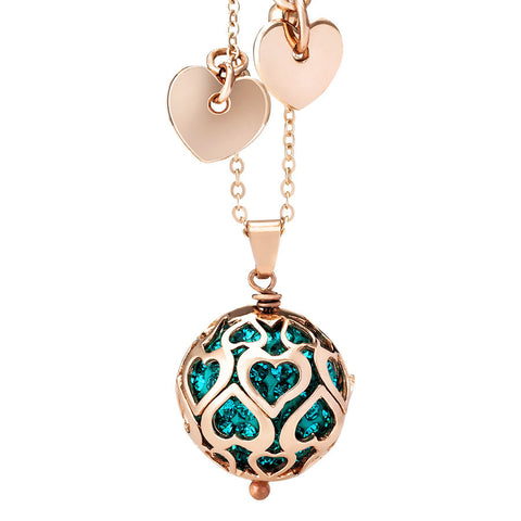 Necklace with boule rhinestone blue zircon and perforated hearts
