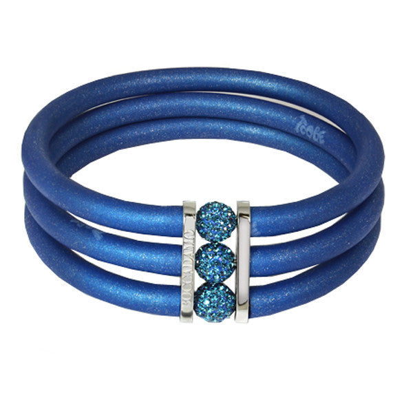 Blue rubber bracelet, rhodium plated bronze and crystal