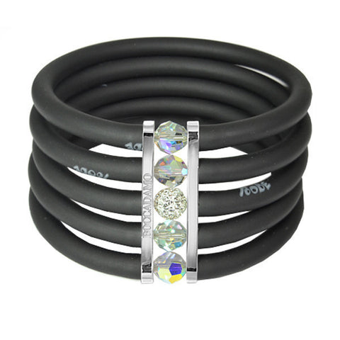 Black rubber bracelet, rhodium plated bronze and Swarovski crystals