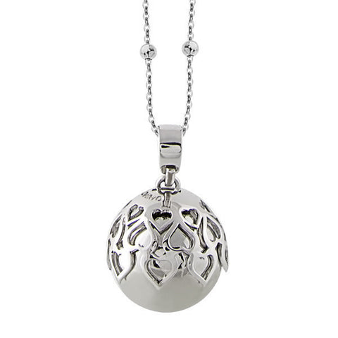 Necklace with sound pendant and perforated hearts