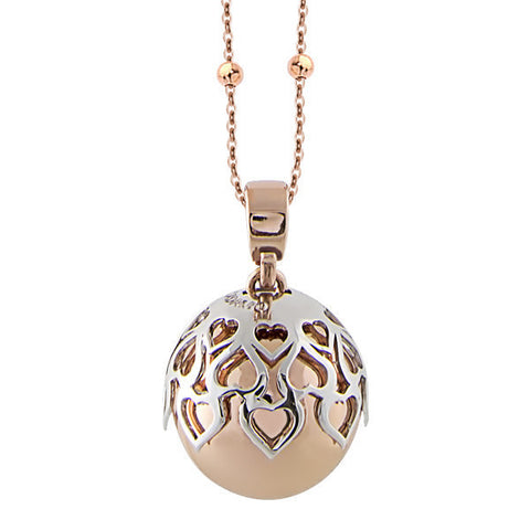 Necklace bicolor with sound pendant and perforated hearts
