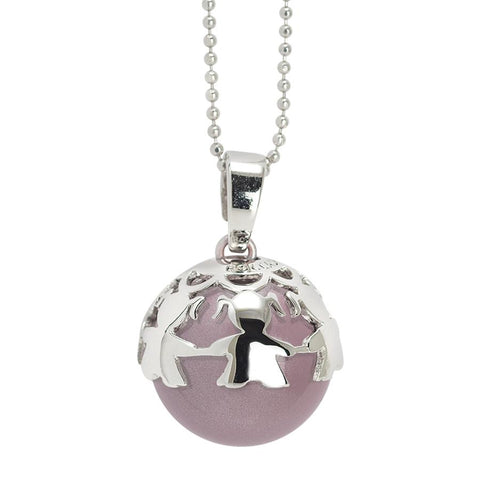 Necklace with sound boule pink & Cup with little girls