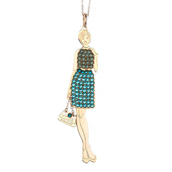 Necklace little doll with outfit opaline green and green water