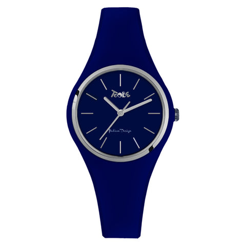Clock in hypoallergenic silicone royal blue with silver ring