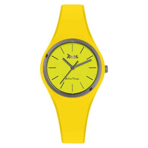 Clock in hypoallergenic silicone yellow with silver ring