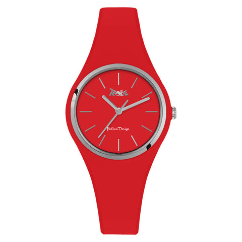 Clock in hypoallergenic silicone red with silver ring