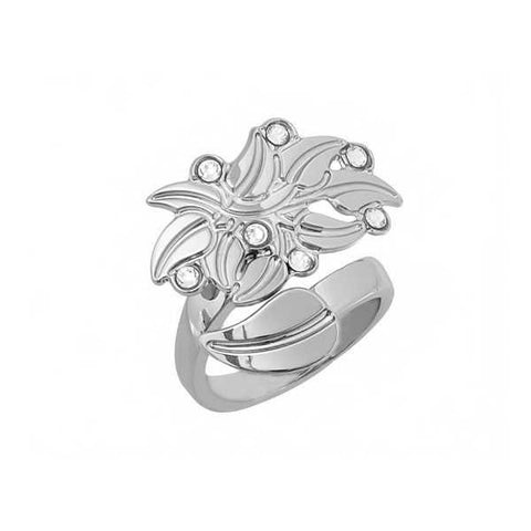 Ring contrariè with a profile in the leaf and Swarovski