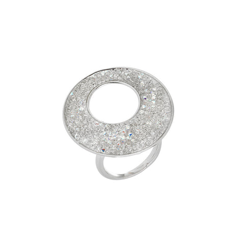Adjustable ring with surface in Swarovski Crystal Rock