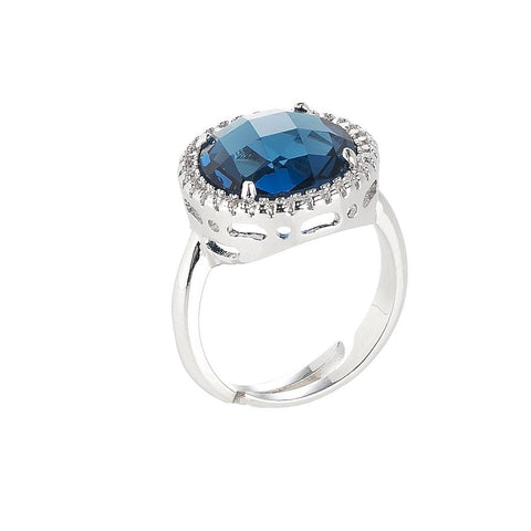 Ring with crystal Montana and zircons