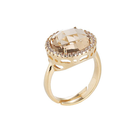 Ring with crystal champagne and zircons