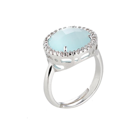 Related product : Ring with crystal aquamilk and zircons