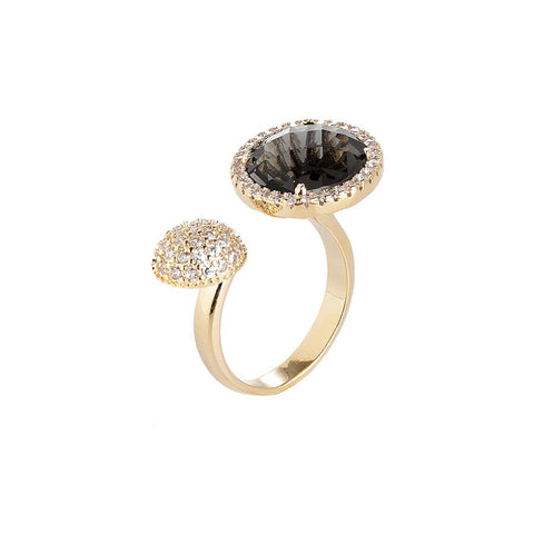 Related product : Open Ring with zircons and crystal smoky quartz
